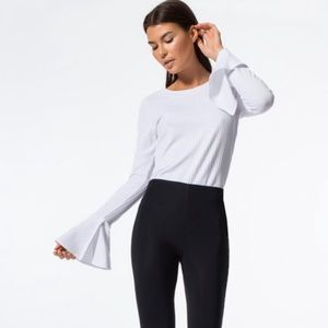 Carbon38 Ribbed Long Bell Sleeve Blouse